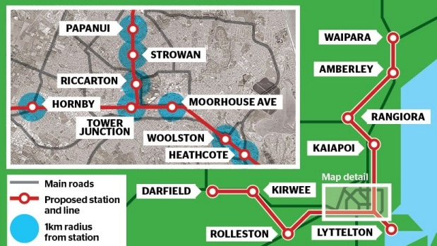 The Press graphic of proposed Mid-Canterbury commuter rail system, 2017